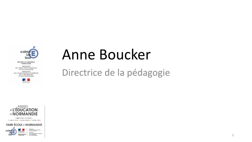 Intervention de Anne Boucker, directrice de la pédagogie